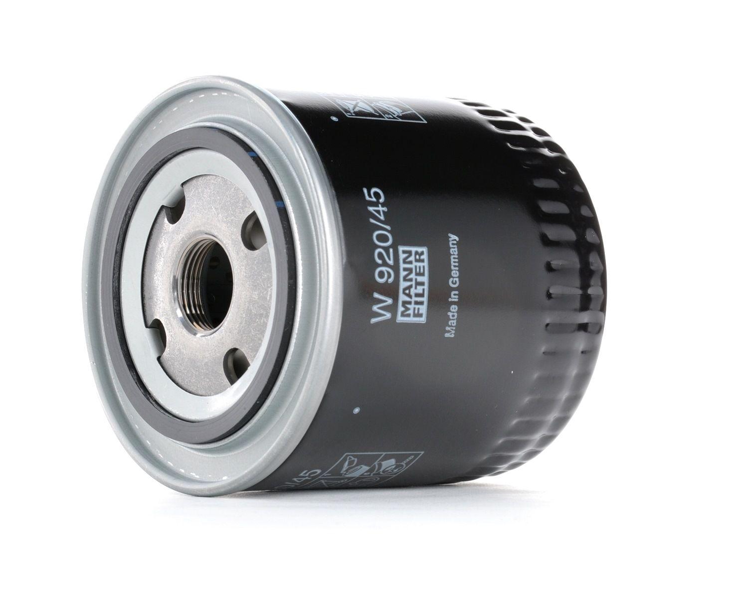 MANN-FILTER: Original Motorölfilter W 920/45 (Innendurchmesser 2: 62mm, Innendurchmesser 2: 62mm, Ø: 93mm, Außendurchmesser 2: 71mm, Höhe: 95mm)